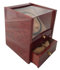 Quad Storage Display Box Battery Ac Burl Wood Automatic Dual Double Watch Winder