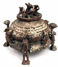 Art Africain Arte African - Boite en Bronze Baoulé - Baule Container - 15,5 Cms