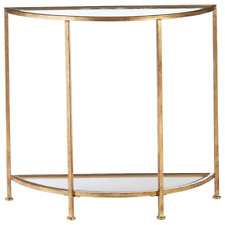 Bella Demilune Gold Leaf Metal and Glass Console Table (32 in. W x 30 in. H)