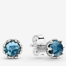 PANDORA 2019 Sparkling Blue Crown Studs Earrings 298311cz Christmas Presents