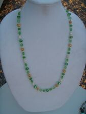 Handmade Necklace Green Glass Beads, White Freshwater Pearls and Gold Tone Metal