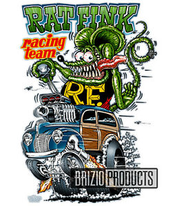 "Rat Fink ""RF Racing Team"" White Tee Shirts 8175 Front Print"
