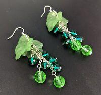 Lovely Jewellery Green Gooseberry Berry 925 Silver Hook Earrings