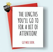 G1 GET WELL FEEL BETTER SOON GREETING CARD FUNNY CUTE CHEEKY HUMOUR LOVE