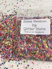 Nail Art Mixed Glitter ( Stella's Rainbow ) Bag Chunky 1mm-2mm Pebble Dots