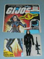 Lot 1984 GI Joe Cobra Officer Baroness v1 Figure w/ Cut File Card Back *Complete