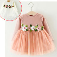 Newborn Infant Baby Girl Floral Princess Tutu Dress Wedding Party Pageant Gown F