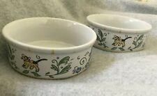 2 Medium 12 oz Cat Kitty Ceramic Bowl Water & Food Dish White w Blue Flowers Euc