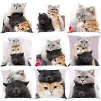 Cute Cat 3D Pattern Waist Cushion Cover Throw Pillow Case Car Home Sofa Decor