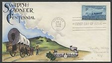 "#958-1 ON KNAPP FDC HAND PAINTED CACHET ""SWEDISH PIONEER CENTENNIAL"" HW1078"