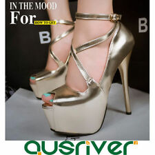 Leather Party Open Toe Heels for Women