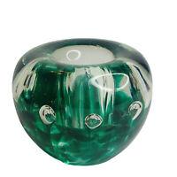 Green Art Glass Hand Blown Candle Holder Bubbles Paperweight
