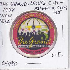 $5 CASINO CHIP THE GRAND BALLY'S ATLANTIC CITY, NJ 1994 NEW YEAR L.E. OBSOLETE