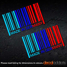 2x Made in Germany - Vinyl Barcode Decals Stickers in BMW M sport colours Msport