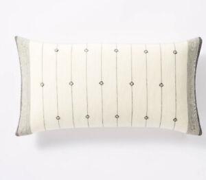 Target Studio McGee Threshold  Black /Cream Dobby Stripe Lumbar Pillow New