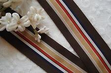 1y Vintage Brwn Rust+ Rayon Stripe Grosgrain Millinery Ribbon Trim Hat Belting