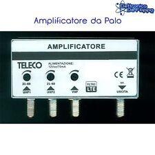 AMPLIFICATORE DA PALO ANTENNA TERRESTRE TV 1 VHF 26dB 2 x UHF 33dB LTE 4G