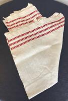 2 Vintage HUCK LINEN TOWEL red stitching scandinavian?  TEA TOWEL 38x21