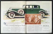 1932 Proud of Our Green Buick 2-Door  M Leone Bracker Art Vintage Print Ad