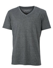 Camiseta de Hombre Con Cuello En V Manga Corta Mezcla Algodón Camisa 170 G/M ²S