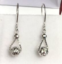 18k Solid White Gold Small Leverback Ball Dangle Earrings, Diamond Cut 1.0Grams