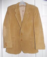 Beige Corduroy 2 Button Blazer Sports Coat Made in Romania Elbow Patches