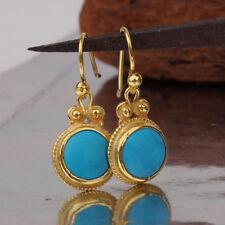 Omer 925 Silver Roman Art Handmade Dangle Turquoise Earrings  24k Gold Vermeil