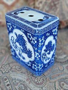 Antique/Vintage Asian Chinese Blue & White Pottery Porcelain CHOPSTICK HOLDER
