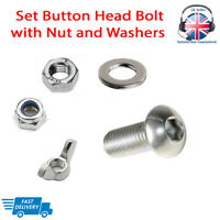 M5 M6 M8 BUTTON HEAD Bolt With Nuts Set Screw and Washers A2 Stainless Steel