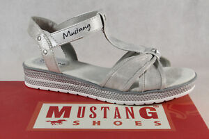 Mustang Girls Sandals High-Heeled Ankle-Strap Silver 5052 New