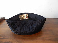 VINTAGE LADIES AMROSE NEW YORK BLACK LAMBS WOOL HAT NICE 7 INCH DIAMETER INTL