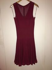 AZZEDINE ALAIA Dark Red Skater Skirt Dress With V neck-Size 40