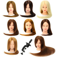 "26"" 100% Real Hair Practice Training Head Mannequin Hairdressing Doll + Clamp"