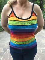 LADIES Cotton RAINBOW Floral Pattern Multicoloured VEST Camisole NEPAL Cool