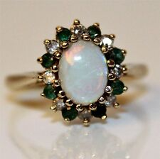 Opal Diamond Emerald 9ct Yellow gold oval cluster ring size  M ~ 61/4