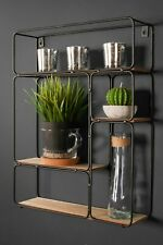 Retro Rectangle Industrial Style Wall Shelf Unit Metal Wood Storage Vintage