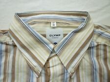 E7848 Olymp Tendenz Businesshemd Kombimanschette 43 braun, gelb, weiß, blau,schw