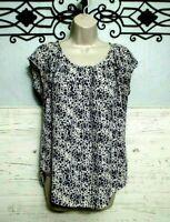 Lauren Conrad Top Size M Multicolored Floral Short Sleeve Blouse Shirt