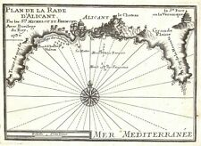 Antique map, Plan de la Rade d'Alicant