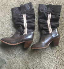 Diesel Brown Leather Slouch Boots 38