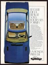 1981 HONDA Prelude Vintage Original Print AD Bleu top car photo French Canada