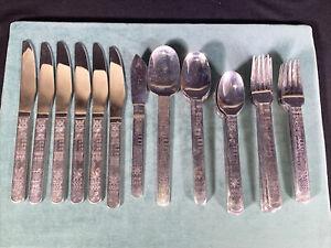 Cambridge Aztec 35 Piece Flatware Silverware Set Forks Spoons Knives