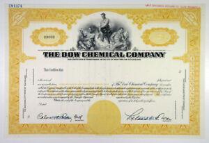 DE. Dow Chemical Co., 1950s Specimen Stock Certificate, VF ABNC Yellow