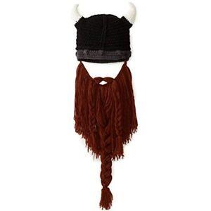 Men's Head Barbarian Vagabond Beanie Foldaway Beard Hats Viking Horns Bearded