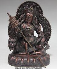 China Tibet Buddhism Temple Red Copper Bronze Sit Lion Vaishravana Buddha Statue