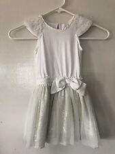 Camilla Dress Girls 2T White With Tool Sequin Overlay Keyhole Back White & Ivory