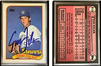 Tom Filer Signed 1989 Topps #419 Card Milwaukee Brewers Auto Autograph