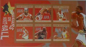 Basketball O'Neal Jordan Johnson Comores Comoros m/s Mi.2859-64 #CM10217a IMPERF
