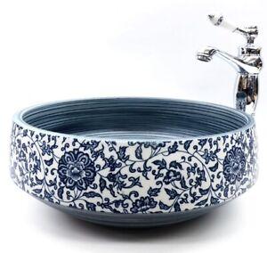 Vintage Floral Kasbah Bathroom Cloakroom Ceramic Counter Top Wash Basin Sink