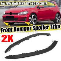 Left + Right Front Bumper Spoiler Lip Air Deflector Trim For VW Golf MK7 GTI